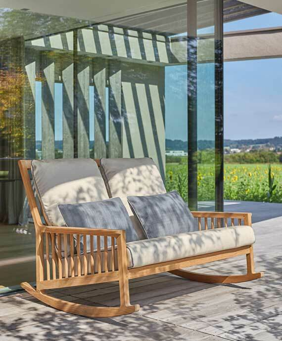 Rocking Chair Two-Seater Teak Newhaven Collection