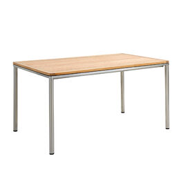 Portland Table Stainless Steel 140 x 90 with teak top