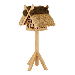 Birdhouse with Thatched Roof, Teak
